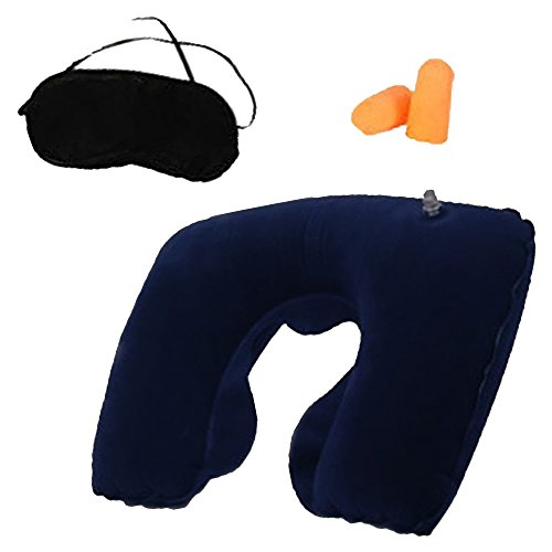 RotSale® 1x Dunkelblau Reiseset PVC Kuschelige Nackenkissen + Augenmaske + Ohrstöpsel 3er Set für Angenehme Reise und Pause (Beflockt-nacken-kissen Aufblasbar)