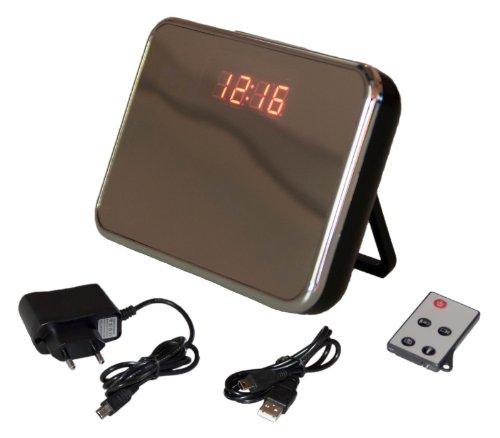 HD Spy Cam Wecker Uhr Glas Bewegungsmelder Kamera spion remote Micro SD schwarz