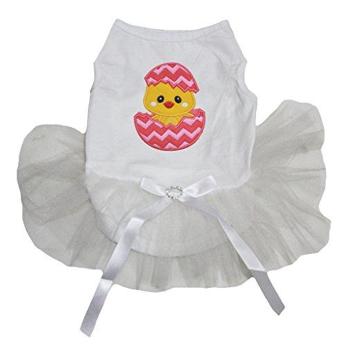 petitebelle Hund Hochzeit Kleid Ostern Küken Ei weiß Baumwolle Shirt Tutu - Küken Tank Top