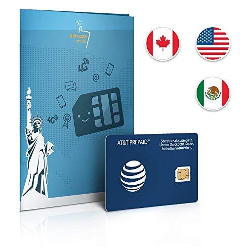 Prepaid Sim-Karte USA, Kanada & Mexiko AT&T Netz - 6GB 4G LTE - Unbegrenzte Anrufe und Sms - 30 Tage Att Mobile-handy