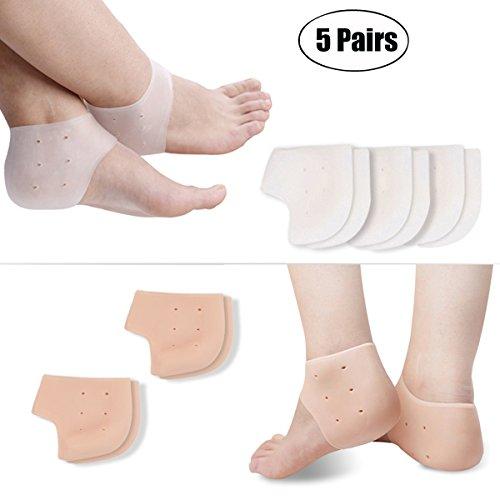 Manicotto del piede, kapmore silicone gel tallone calzini cappuccio del gel di supporto dell'aria del tallone silicone gel fasciite plantare traspirante del silicone per il sollievo del dolore
