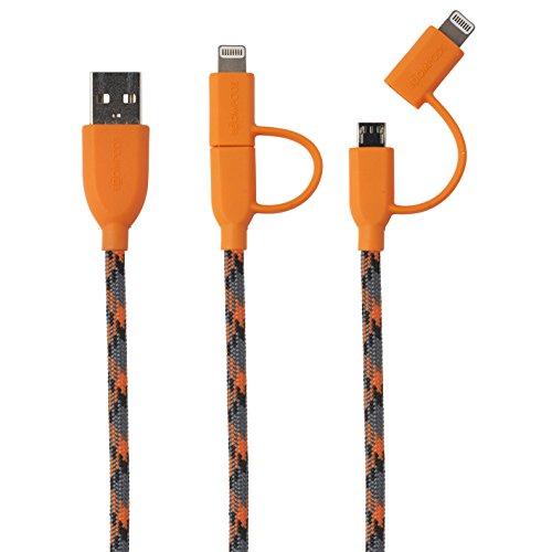 Boompods Duo - Cable lightning a micro USB naranja