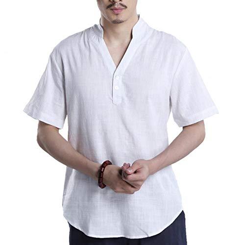 Kostüm Chinesische Männlich - HAHAJY Fashion Summer Chinesischen Stil Männer Nationalität Leinen Männliche Anstrengung Kurzarm Baumwoll-T-Shirt Männer V-Ausschnitt Kostüm-T-Shirts, Weiß, M