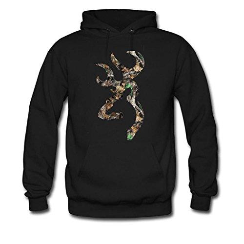 HGLee Printed Personalized Custom Browning Deer Classic Women Hoodie Hooded Sweatshirt Black--1