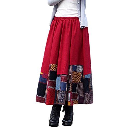 NiSeng Mujeres Vintage Faldas étnicas Largas Irregular