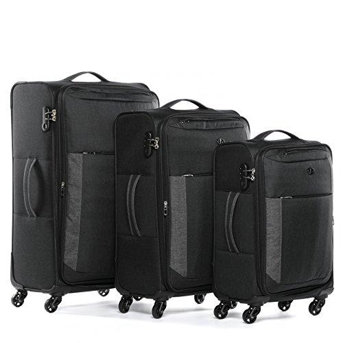 FERGÉ® Set 3 valises Voyage en Toile Extensible Saint-Tropez Ensemble de Bagages Douce Trois pc 4 Roues Trolley 4 roulettes 360 degrés Noir