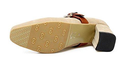 DONNA chiuso Toe Pumps pelle scamosciata della Mary Jane Scarpette Scarpe Sandali Rosso Nero Marrone Beige beige