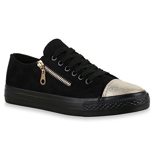 Damen Sneakers Glitzer Pastell Sportschuhe Zipper Freizeit Schuhe Schwarz