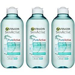 Skinactive Face Garnier Pure Active Micellare acqua detergente pelle grassa, 400ml, confezione da 3