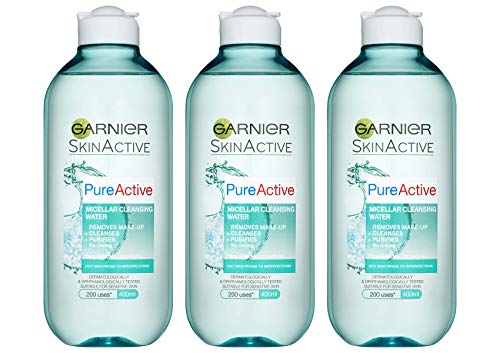 SkinActive Face Garnier Pure Active Micellar Oily Skin Cleansing Water, 400 ml, paquete de 3