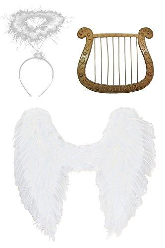 Engel Set 3-tlg. für Weihnachten - Groß Flügelbreite 70 cm - Engelsflügel, Heiligenschein und (Kostüme Feder Flügel Weiße)