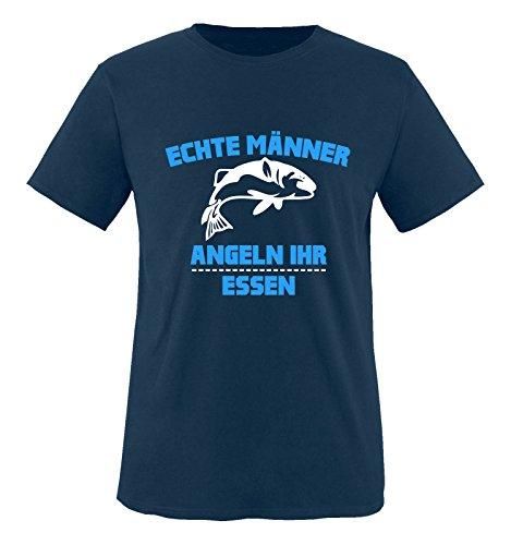 Comedy Shirts - Echte Männer angeln ihr Essen. - Herren T-Shirt - Navy / Weiss-Blau Gr. XXL