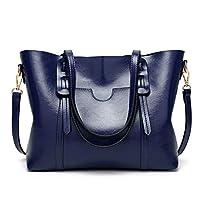 AMERTEER Women PU Leather Tote Bag Briefcase Laptop Tote Bag Vintage Leather Handbags Shoulder Purses Top Handle Satchel Daily Work Shoulder Bag Large Capacity 15.6 inch (blue)