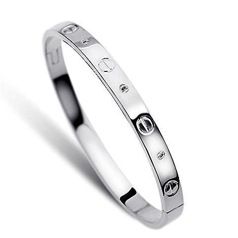 LUXEFUL® - Bracelet Bangle Love Stainless Steel Men & Women (Silver Diamond Women)