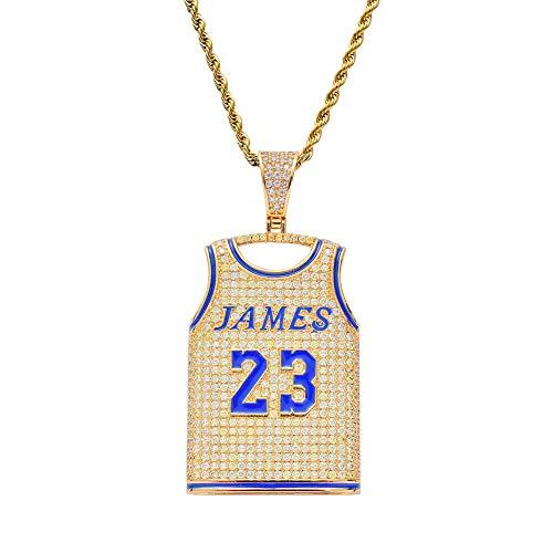 CMIAO Hip-Hop-Anhänger, Nr. 23 Jersey Männer Halskette James Kette Basketball-Fan Anhänger Iced Out Vergoldet Eingelegt CZ Zirkonia Punk-Stil Mode Schmuck Zubehör zum Geschenk -