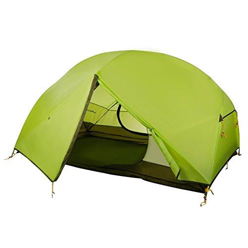 WolfWise 2 Personen Trekkingzelt, Professionelles Campingzelt Familienzelt Gruppenzelt Ultraleicht Zelt, für Camping/Wandern/Outdoor Backpacking, mit Tragetasche, Wasserdicht (Grün)