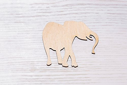 Juego de 10 elefantes de madera cortados con láser, recortes de madera,...