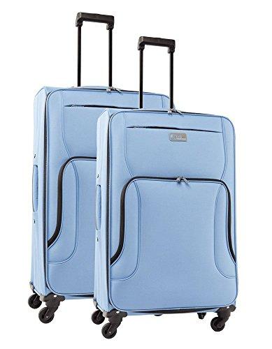 lot de 2 valises-chariots 4 roues POLYESTER 600D Bleu