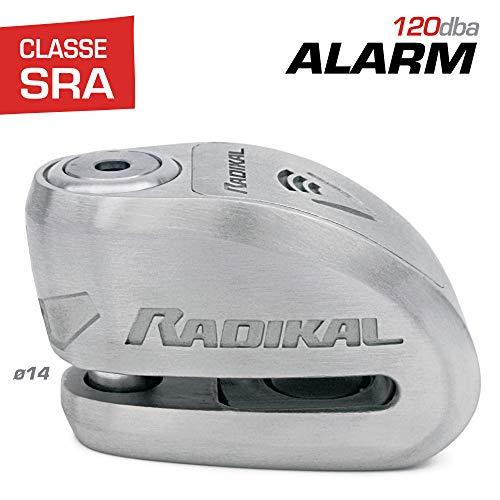 Radikal rk914s antifurto moto blocca disco allarme 120 db Ø14 doppia chiusura omologata sra, acciaio inossidabile