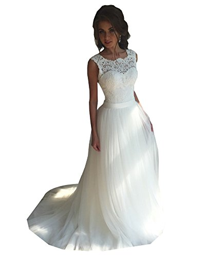 Erosebridal A-Linie Prinzessin Spitzen Tüll Brautkleid Rückenfrei Hochzeitskleid Weiß DE34