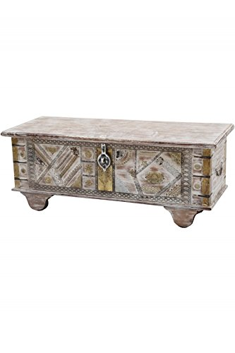 Orientalische Truhe Kiste aus Holz barthel 116cm groß | Vintage Sitzbank mit Aufbewahrung für den...