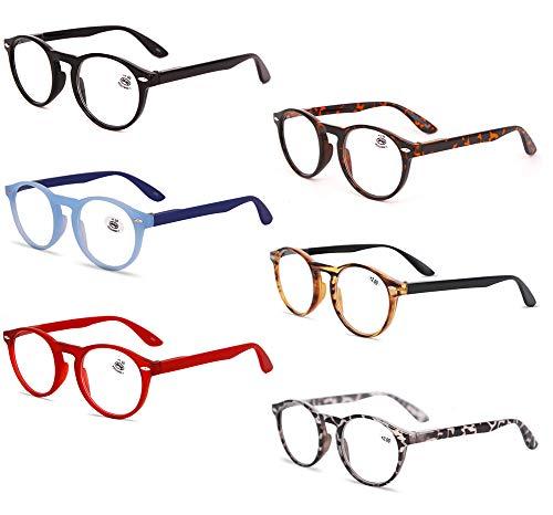 KOOSUFA Lesebrille Herren Damen Retro Runde Nerdbrille Lesehilfen Sehhilfe Federscharniere Vollrandbrille Anti Müdigkeit Brille mit Stärke 1.0 1.5 2.0 2.5 3.0 3.5 4.0 (6 Farben Set, 2.0)