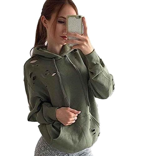 "Kolylong Sweat-Shirts Femme Retro Lâche Casual Manches Longues Sweat à Capuche Pull Pull Tops Shirt Manteau (S-Buste:37.8"", A)"