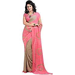 Great Indian Sale Sarees For Women Party Wear Designer Today Best Offers In Low Price Sale Pink Color Georgette Fabric Free Size Ladies Sari