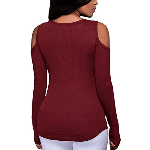 Femmes Col V Amincissant Épaules Dénudées Longue Tunique À Manches Épaule Froide Chemises Blouses Tops Automne Vin rouge
