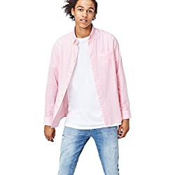 FIND Camisa de Rayas para Hombre, Rosa (Pink), Small