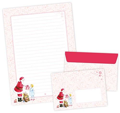 Briefpapier Weihnacht Set BRIEFE AN DEN WEIHNACHTSMANN • 22 Blatt Briefpapier A4 + 11 Umschläge C6 mit Weihnachtsmann in ROT ROSA mit romantischen Ornamenten • Optimal für Kinder zum Wunschzettel