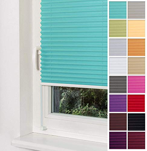 Home-Vision Premium Plissee Faltrollo ohne Bohren mit Klemmträger / -fix (Türkis, B25cm x H100cm) Blickdicht Sonnenschutz Jalousie für Fenster & Tür