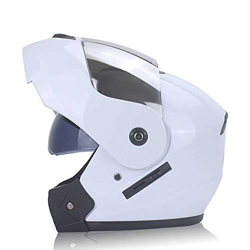 WJSHN Unisex Motorradhelm Sonnenblende Mehrfarben Optional Doppelte Linse Outdoor-Sportarten Volles Gesicht Fahrrad Schutz für Männer und Frauen Vier-Jahreszeiten-Helm,White,L -