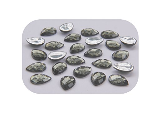 LOT DE 20 PERLES STRASS CABOCHON 14x10mm GOUTTE A FACETTE A COLLER ACRYLIQUE GRIS - LIVRAISON GRATUITE - CREATION PERLES