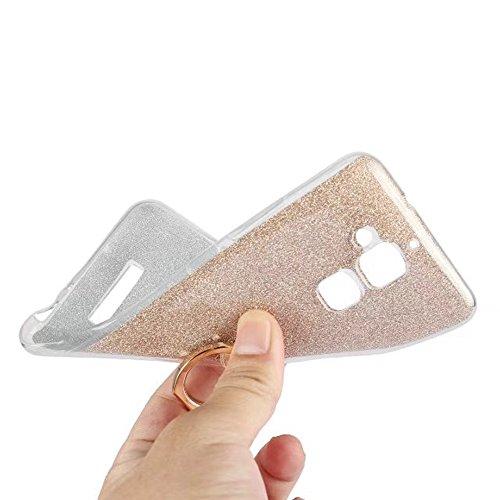 EKINHUI Case Cover Soft Flexible TPU Back Cover Case Shockproof Schutzhülle mit Bling Glitter Sparkles und Kickstand für Asus ZC520TL ZenFone 3 MAX ( Color : White ) Gold
