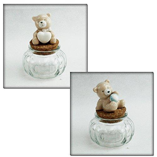 Dlm26579 (kit 6 pezzi) barattolo in vetro con orso orsetto orsacchiotto in ceramica bomboniera