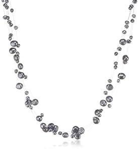 Valero  Pearls  Damen-Kette  Süßwasser-Zuchtperlen  silbergrau barocke  Perlenform  60201648