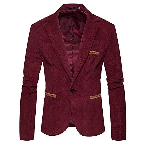 Yvelands Blazer Top Jacke,Herren Herbst Winter Lässige Corduroy Schlank Langarm Mantel Anzug Blazer Top(EU-54/L3,Rot)