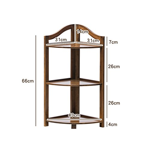 HSHELF-Möbel Multifunktionale Wandregale Bambus Wohnzimmer Eckständer Stativ Wand Rahmen Baffle Storage Locker Regal Blume Rack, Multi-tiers Bücherregal Stilvolle und attraktive platzsparende Wandregal ( größe : 3 Tiers(66cm) ) (3 Tier Bücherregal)