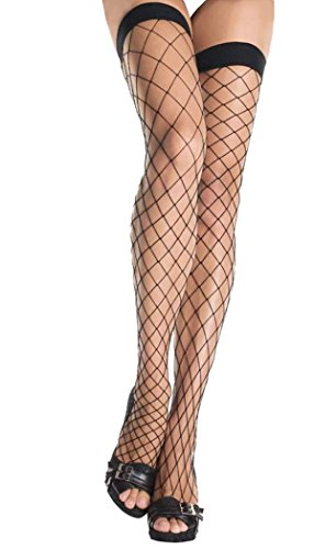 HO-Ersoka Damen Netz Strümpfe halterlos grobmaschig mit Spitze schwarz (Halloween-kostüme Mit Röcken)