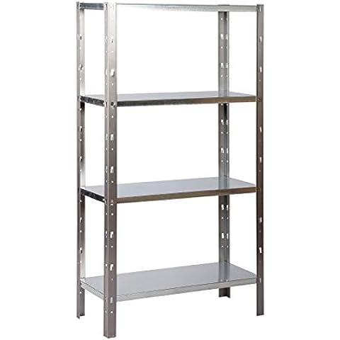 Avasco 50 - Estantería de metal (sin tornillos, 4 baldas, 150 x 75 x 30 cm), color gris claro