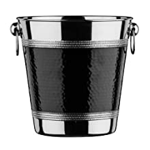 Premier Housewares Champagne Bucket with Hammered Black Band - Stainless Steel