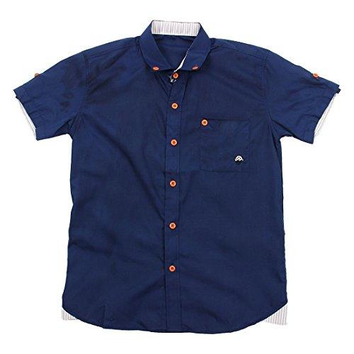 Sodial camicia da uomo moda estate camicia manica corta slim casual camicia da uomo ricamo piccolo fungo navy xxxl