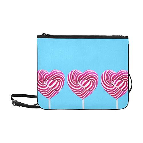 WYYWCY Herz Candy Bunte Benutzerdefinierte hochwertige Nylon Slim Clutch Bag Cross-Body Bag Umhängetasche (Benutzerdefinierte Süßigkeiten Herzen)