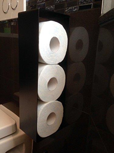 Design WC Papierrollenhalter Hängend selbstklebend schwarz Ersatzrollenhalter