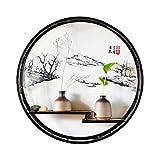 Ablagegestelle Wand-hängendes Dekorationsrestaurantwand-Kreativgestell des Gestells schmiedeeiserne Wand hängende chinesische Art Wohnzimmer-Portalwand Eckregale ( Color : Black , Size : 72*72*9cm )