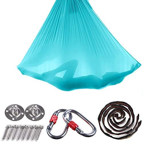 RAOMAL Yoga DIY Silk Pilates Premium Aerial Silks Equipment Aerial Yoga Tuch Aerial Silk elastische Yoga Hängematte mit Stoff Zubehör 5 Meter (Blau)