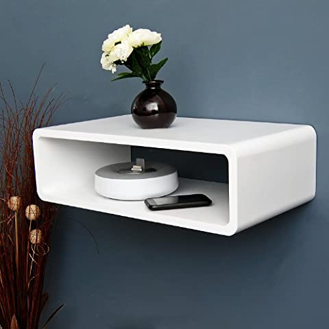ts-ideen HiFi lounge audio shelf board wall Halter retro CD DVD media shelf in white