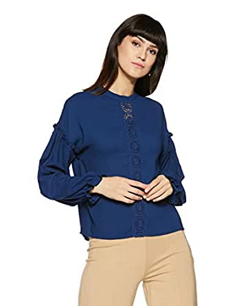 Amazon Brand - Symbol Women's Plain Loose Fit Top (SS18SYMWBL050-Navy-XS)