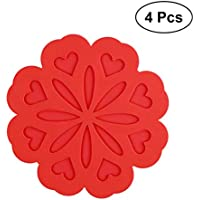 BESTONZON 4 unids Multi-propósito Silicona Hot Pad Flor en Forma de Cocina Aislamiento térmico Estera Antideslizante Resistente al Calor Hot Pads (Rojo)
